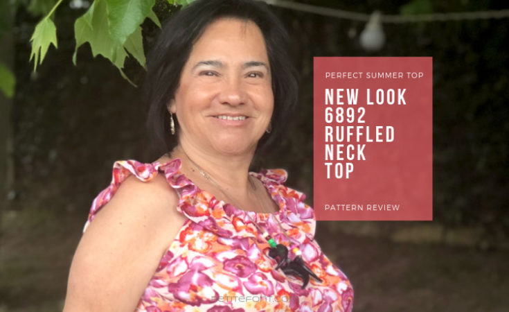 Woman in sleeveless floral shirt with white text on pink background that reads Perfect for Summer New Look 6892 ruffled neck top pattern review, petite font dot com