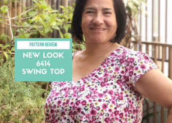 "A woman with short black hair has her left hand on her hip and a big smile on her face, with a green text box next to her that reads ""pattern review new look 6414 swing top"" and a web address at the bottom of petite font dot com."