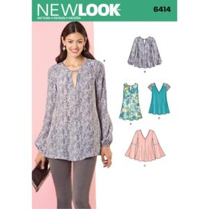 Image from the pattern envelope for New Look 6414 sewing pattern showing a woman in a loose, long sleeved floral print tunic with a keyhole neckline, and drawings of 4 other pattern options.