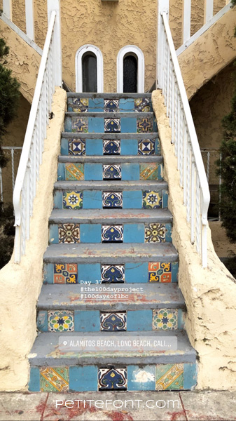 Image of stairs with interesting tiles text reads Day 37 hashtag the 100 day project hashtag 100 days of lbc, Alamitos Beach, Long Beach, Cali...Petite Font dot com.