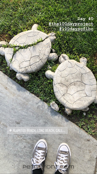 Image of stone turtles on grass, one broken down the back with grass growing through, and grey Converse shoes at the bottom of the picture. Text reads Day 40 hashtag the 100 day project hashtag 100 days of lbc, Alamitos Beach Long Beach Cali..., petite font dot com.