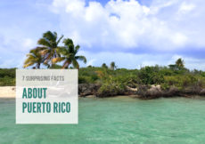 Tropical beach with text overlay that reads 7 Surprising Facts about Puerto Rico