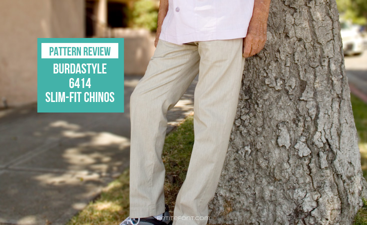 Man standing against tree in light colored linen pants with text overlay that reads Pattern Review BurdaStyle 6815 Slim Fit Chinos, Petite Font dot com