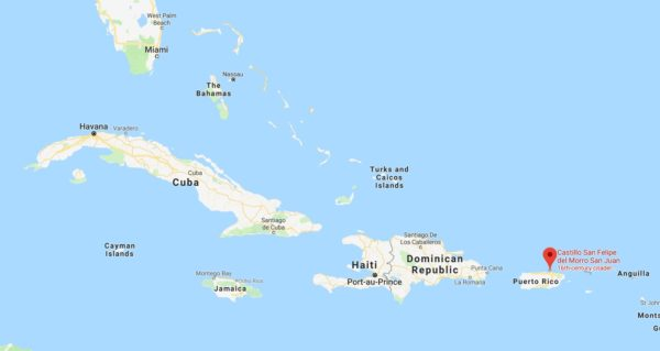 Map of Caribbean Sea with point denoting San Juan Puerto Rico