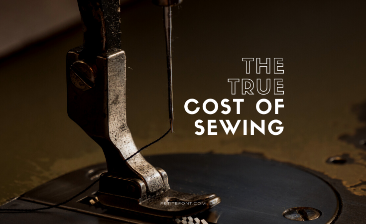Close up of an industrial sewing machine foot and needle with text overlay that reads The True Cost of Sewing