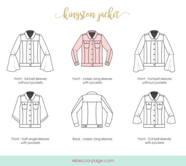 Line drawings of the 5 Rebecca Page Kingston pattern sleeve options