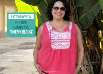 """Curly haired Latina woman in a pink silk and lace handmade sleeveless blouse standing in front of a palm tree with text overlay that reads """"pattern review hey june handmade Phoenix blouse, petite font dot com"""""""