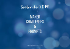 Blue bokeh background with white text September 2019 maker challenges and prompts, Petite Font dot com