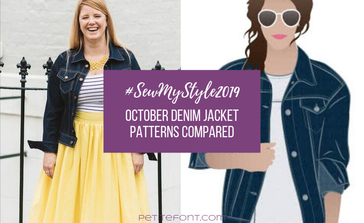 Image of a woman wearing a denim jacket, striped shirt, and yellow skirt next to a digital drawing of a woman in an oversized denim jacket with purple box overlayed with white text that reads #sew my style 2019: October denim jacket patterns compared