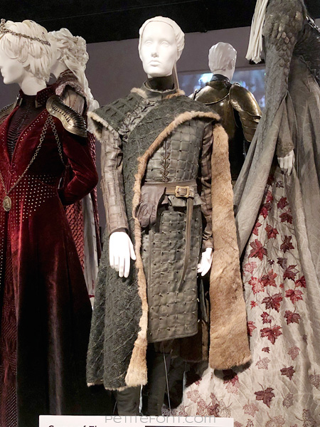 Mannequin modeling Arya Stark's warrior outfit in the Game of Thrones costumes exhibition at FIDM Museum