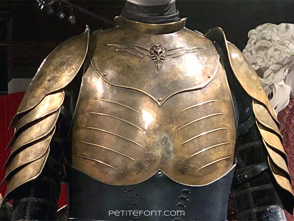 Detail view of sigil on breastplate of Ser Brienne's Lord Commander breastplate in the Game of Thrones costumes exhibition at FIDM Museum