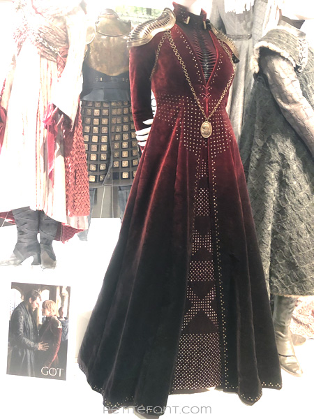 Mannequin modeling Queen Cersei Lannister's outfit in the Game of Thrones costumes exhibition at FIDM Museum