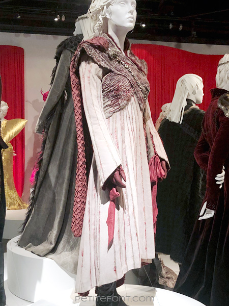 Mannequin modeling Queen Daenerys Targaryen's outfit in the Game of Thrones costumes exhibition at FIDM Museum