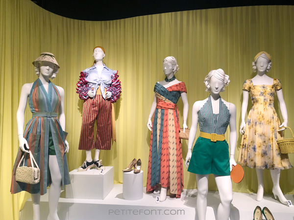 Image of 5 mannequins dressed in late 1950s attire from the Amazon Prime show The Marvelous Mrs. Maisel, from FIDM's 13th Art of Television Costume Design exhibit