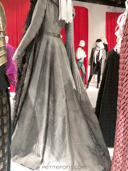 Back view of mannequin modeling Sansa Stark's coronation dress in the Game of Thrones costumes exhibition at FIDM Museum