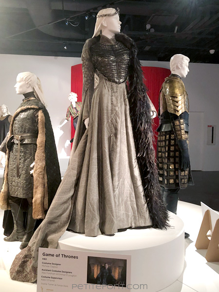 Mannequin modeling Sansa Stark's coronation dress in the Game of Thrones costumes exhibition at FIDM Museum