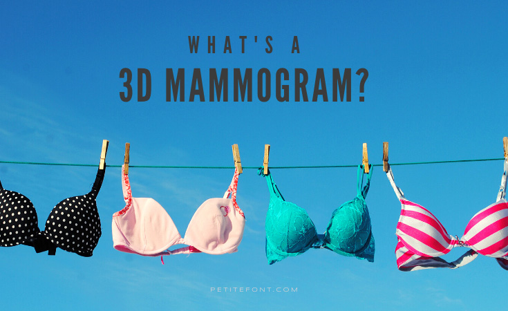 "Clothesline with various bras pinned to it against a clear blue sky with text above that reads ""what's a 3d mammogram?"" petite font dot com"
