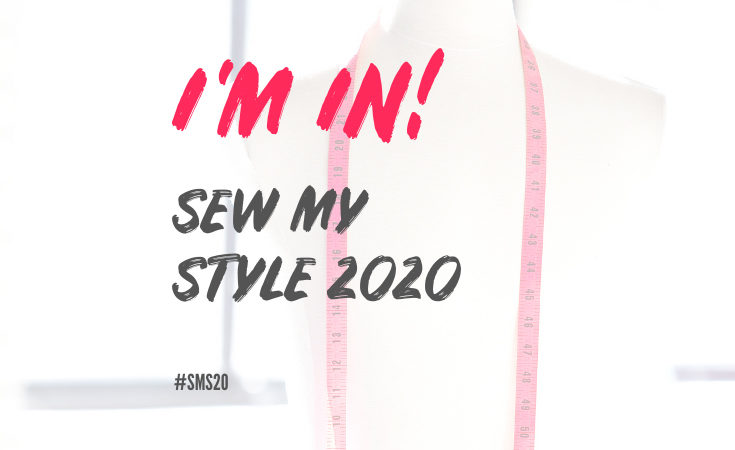 Mannequin with red measuring tape around shoulders and handbrushed lettering overlayed reading I'm in! Sew My Style 2020 #SMS20