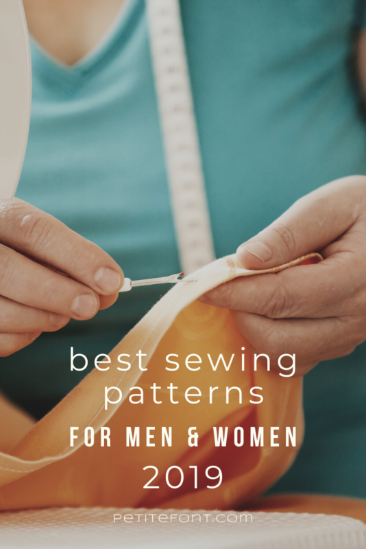 Cropped image of a woman in blue top with a white measuring tape around her neck unpicking a garment with text overlay that reads Best Sewing Patterns for Men and Women 2019 petite font dot com