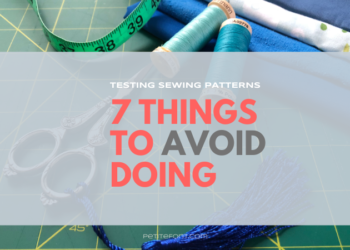 Cutting mat with sewing supplies and text overlay that reads Testing Sewing Patterns: 7 things to avoid, petitefont.com