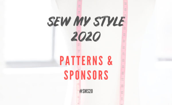 Mannequin with red measuring tape around shoulders and handbrushed lettering overlayed reading Sew My Style 2020 Patterns & Sponsors#SMS20
