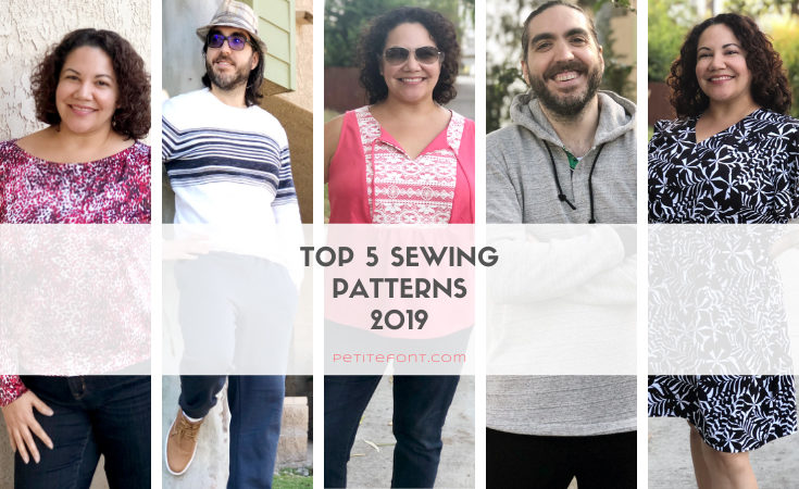 Images of woman and man in 5 different outfits with text in white box Top 5 Sewing Patterns 2019 petite font dot com