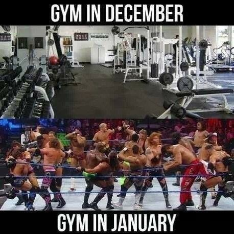 2 different images one on top of the other. The top is an empty gym that reads Gym in December. Below is a picture of a bunch of wrestlers having a melee in the ring with the text Gym in January