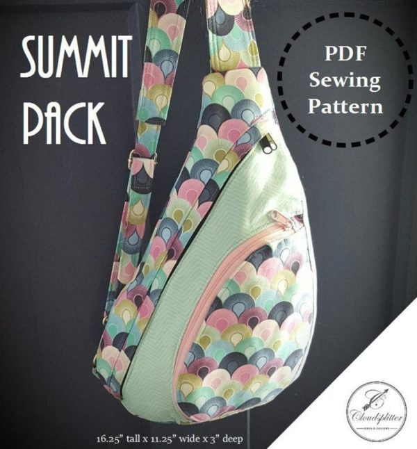 Image of a multi-colored Cloudsplitter Summit Pack against a grey background with text overlay that reads Summit Pack PDF Sewing Pattern