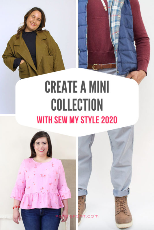 3 grid image of various pattern options for men and women with text overlay that reads Create a Mini Collection with Sew My Style 2020, PetiteFont.com