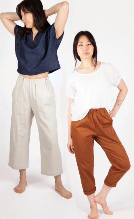 2 women in loose tees and different versions of the Sew House 7 Free Range Slacks