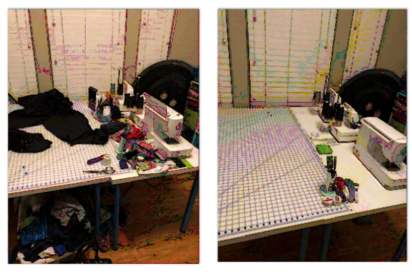 Side by side photos of Rad Pattern's Stephanie Theil's sewing space