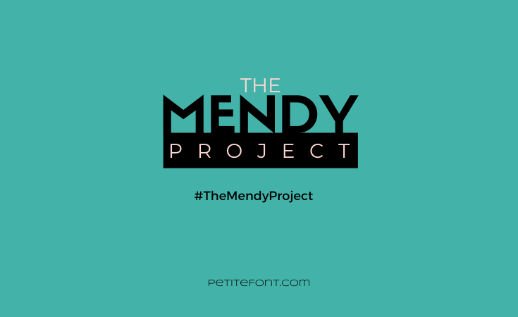 Teal green box with pink and black text that reads The Mendy Project #TheMendyProject petitefont.com