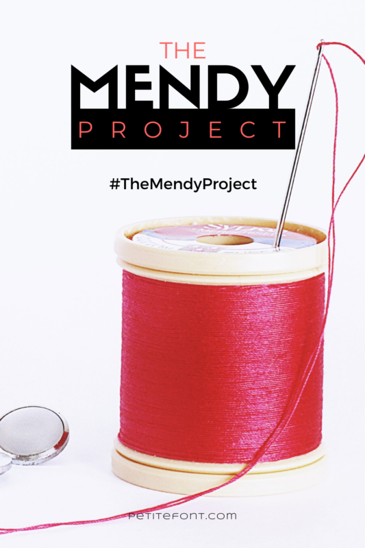 A red spool of thread with a needle stuck in the top plus a shiny button on a white background with text that reads The Mendy Project #TheMendyProject PetiteFont.com