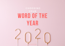 Pink background with gold 2020 on sticks at the bottom, text overlay reads Choosing your Word of the Year, PetiteFont.com