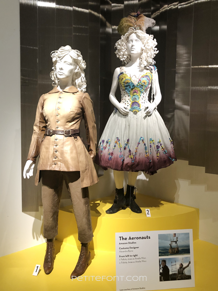 2 mannequins showing the movie costumes from 2019's The Aeronauts