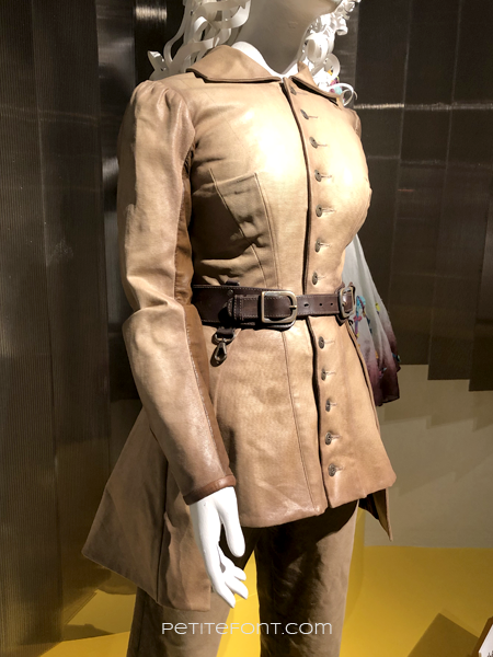 Close-up of a fitted brown leather jacket from the movie The Aeronauts