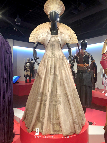 Mannequin displaying Angela Basset's movie costume from Black Panther