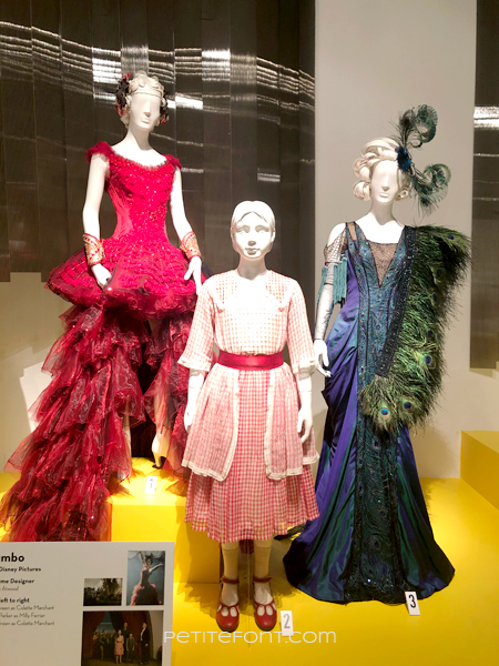 3 mannequins wearing costumes from the movie Dumbo