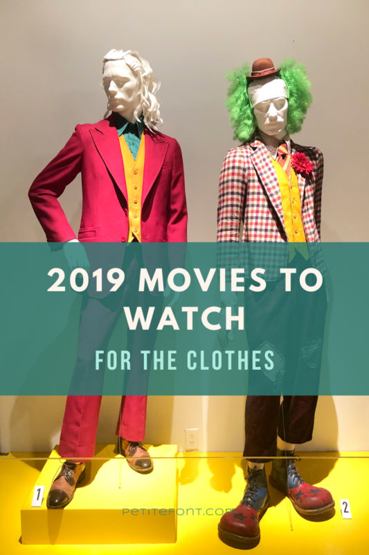 2 movie costumes from The Joker with text overlay that reads 2019 movies to watch for the clothes