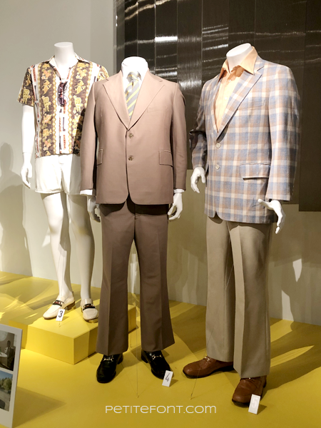 3 mannequins displaying menswear movie costumes from 2019 movie The Irishman