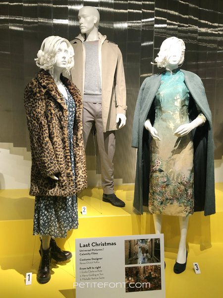 3 mannequins wearing movie costumes from 2019's Last Christmas