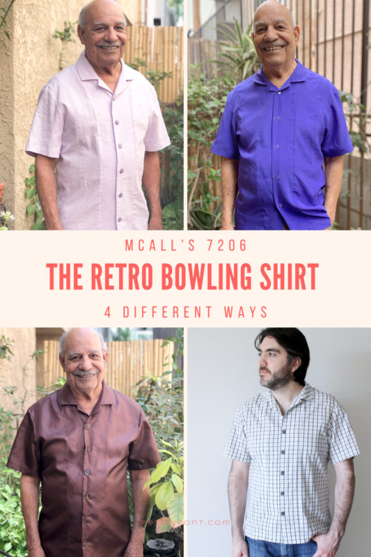 4 grid image of 2 different men modeling versions of the same sewing pattern with text that reads McCall's 7206 The Retro Bowling Shirt 4 Different Ways