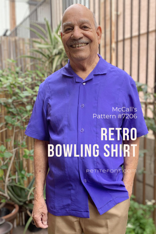 Elder bald man modeling a blue silk McCall's 7206 bowling shirt pattern in his patio garden with text overlay that reads McCall's Patterns #7206 Retro Bowling Shirt Petite Font.com