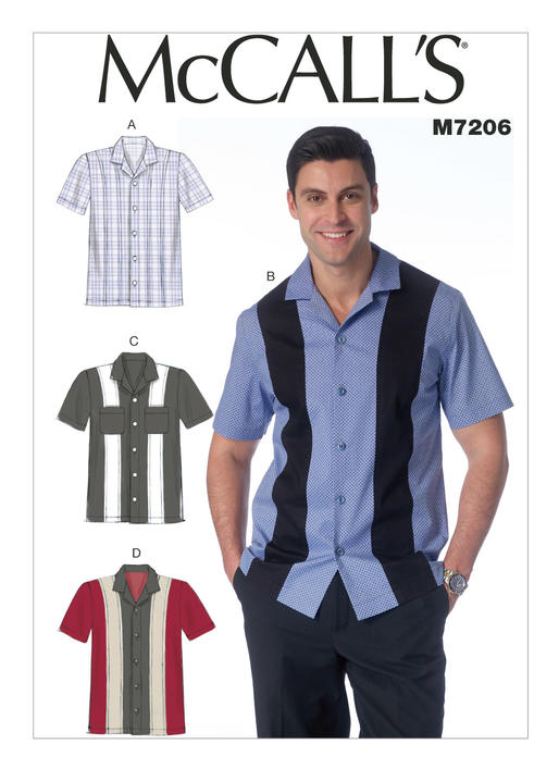 McCall's 7206 pattern envelope showing a man dressed in a blue and black bowling shirt, as well as 3 other hand drawings of other ways to style the shirt.