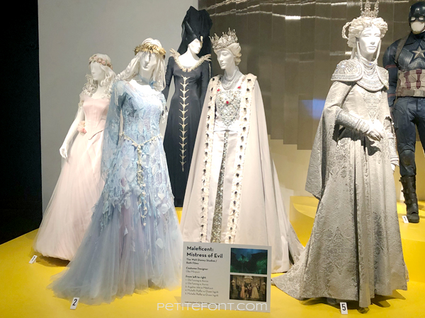 Display of movie costumes from 2019's Maleficient: Mistress of Evil
