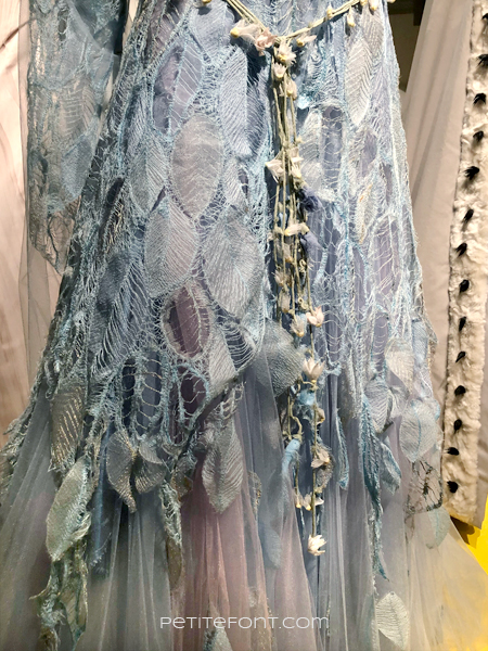 Close up of the lace detail on Aurora's dress from 2019's Maleficient: Mistress of Evil