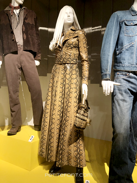 Mannequin displaying Margot Robbie's snakeskin movie costume from 2019's Once Upon a Time...in Hollywood