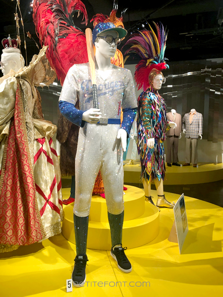 A Swarovski crystal encrusted LA Dodgers uniform movie costume from 2019's Elton John biopic Rocketman