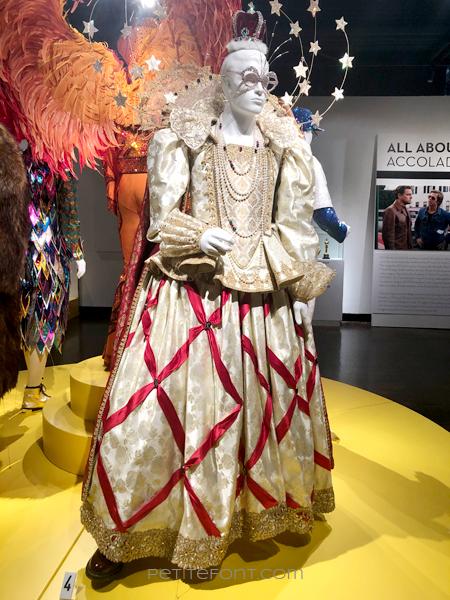 An elaborate Victorian dress movie costume from 2019's Elton John biopic Rocketman
