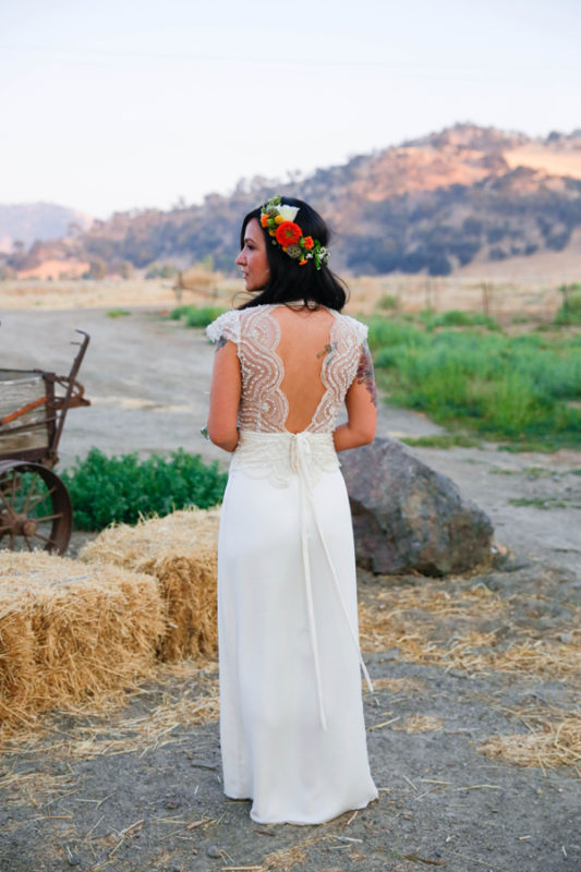 Back view of Chelsea in a beaded wedding dress